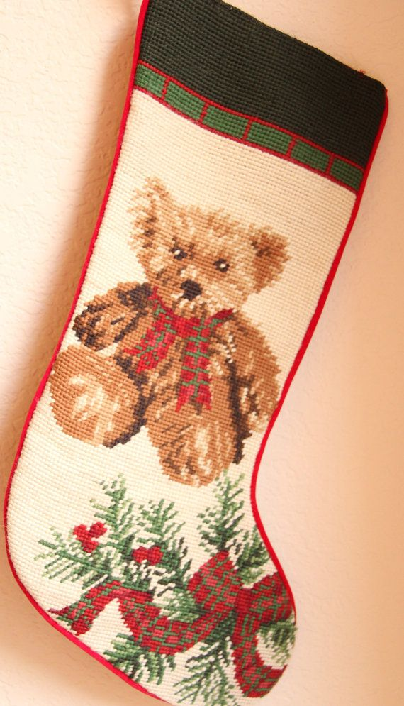 Vintage Handmade Needlepoint Teddy Bear By Typintracy2000