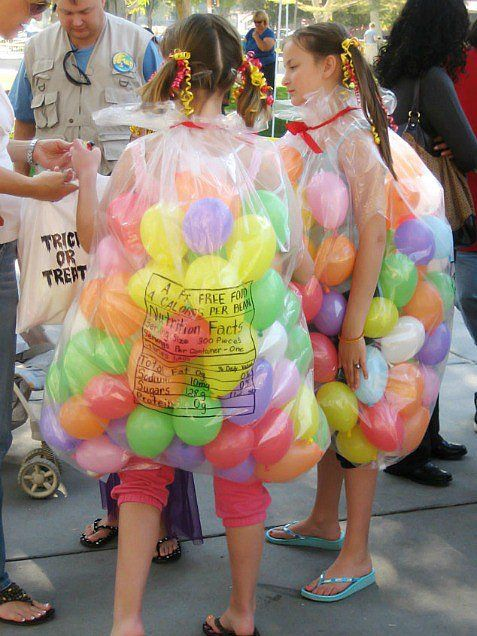 Bag of Jelly Beans: This costume must be the sweetest one of the bunch!  Get a clear trash bag, cut holes for your arms and legs to fit through. Print the nutritional facts on the back of the costume, just like what you see on the backs of candy bags. Fill up the bag with colored balloons for the jellybeans, and tie up the trash bag near your neck with a ribbon.  Source: Modern Kiddo