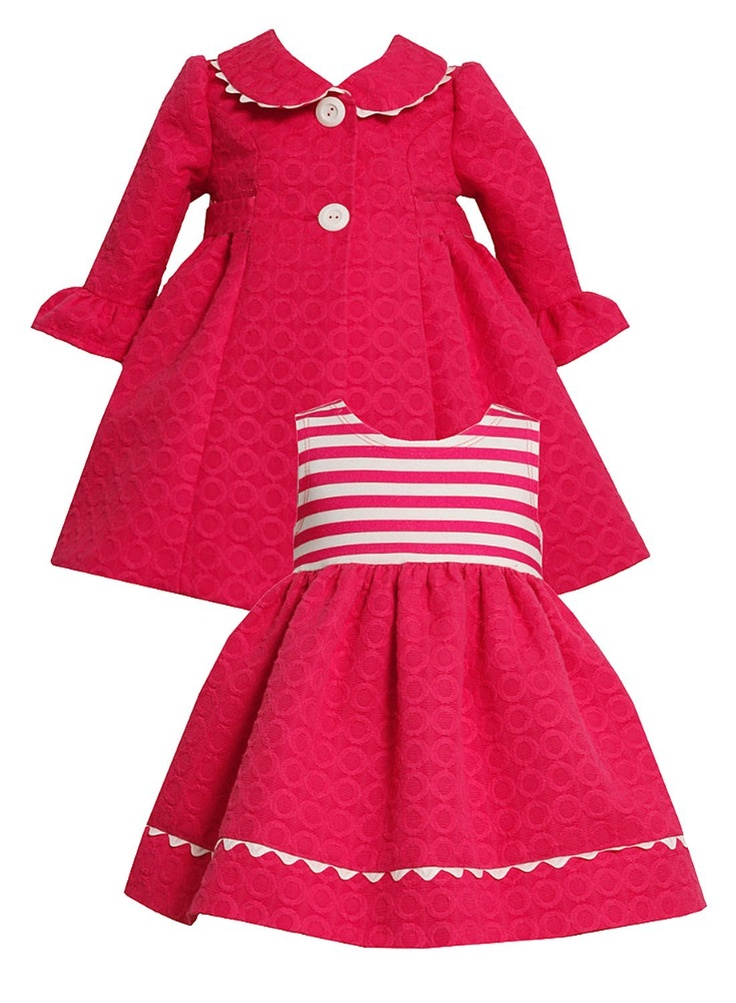 Bonnie Jean Baby-Newborn 3M-24M 2-Piece Fuchsia-Pink and White Jacquard Circle Coat and Dress Set  Price:	$38.99