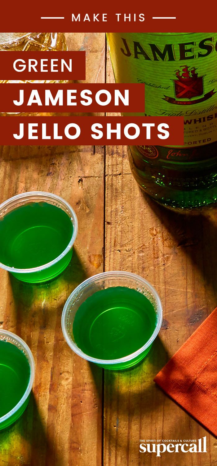 Green Jello Shots capture the spirit of the festivities without besmirching the good reputation of beer. And, since this is St. Patrick's Day, what better spirit to use than Irish whiskey? We opted for Jameson here because it is hands down the most popular Irish whiskey in the country—Americans buy more Jameson than the next nine Irish whiskeys combined. #whiskey #jelloshot #irishwhiskey