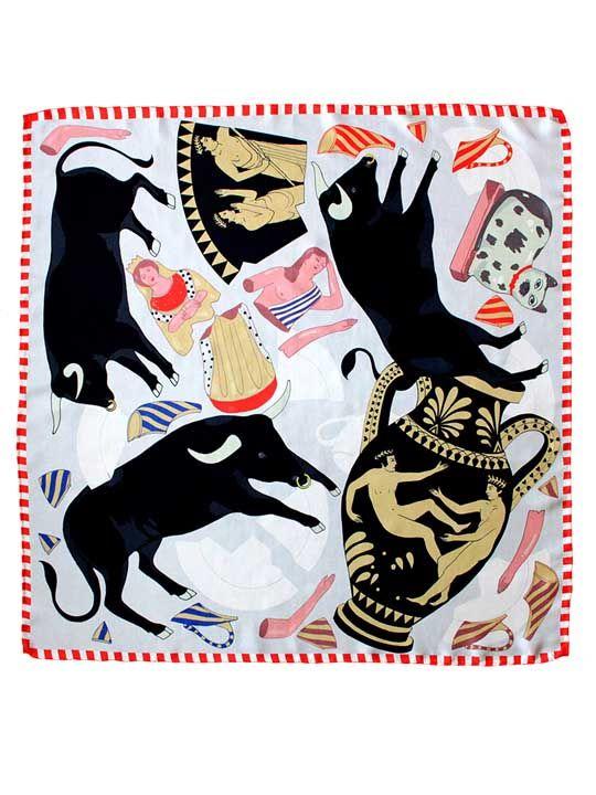 Like a Bull in a China Shop Silk Scarf | Karen Mabon