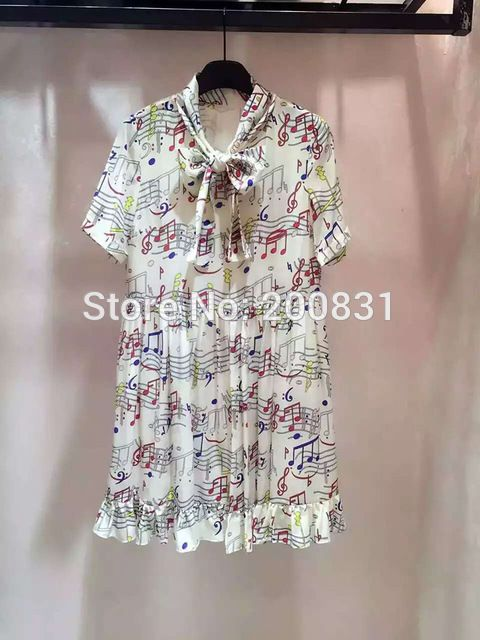 2016 New Summer Women Dress Cute Loose Music Notes Short Double-layer Mini Ruffles Fashion Women Dress  US $161.50 /piece CLICK LINK TO BUY THE PRODUCT  http://goo.gl/oYWEYs