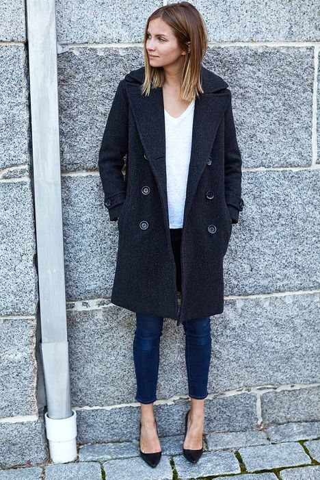 Emerson Peacoat - Charcoal Wool | Emerson Fry