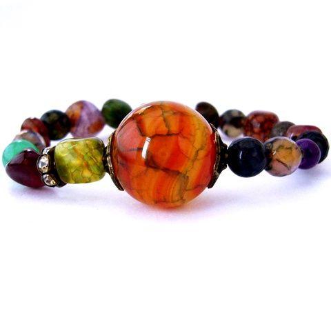 Avar! - színes ásvány és réz karkötő achát és jáde ásvánnyal (ButterflyJew) - Meska.hu