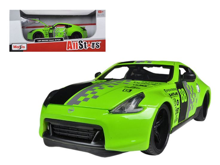 2009 Nissan 370Z #88 Green 1/24 Diecast Model Car by Maisto - Brand new 1:24 scale diecast model car of 2009 Nissan 370Z #88 Green die cast car model by Maisto. Brand new box. Rubber tires. Detailed interior, exterior. Has opening hood and doors. Made of diecast with some plastic parts. Dimensions approximately L-7.5, W-3.25, H-2.75 inches. Please note that manufacturer may change packing box at anytime. Product will stay exactly the same.-Weight: 2. Height: 6. Width: 11. Box Weight: 2. Box…
