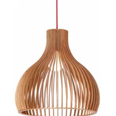 Geometric Dome 230mm Plywood Pendant Light