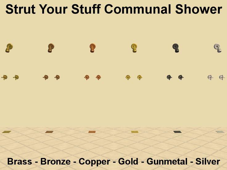 Mod The Sims   Strut Your Stuff Communal Shower Metal Recolours