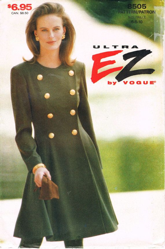 Vogue 8505 - 1990s Sewing Pattern - Ultra EZ By Vogue - Misses' Dress - Military Style Coat Dress