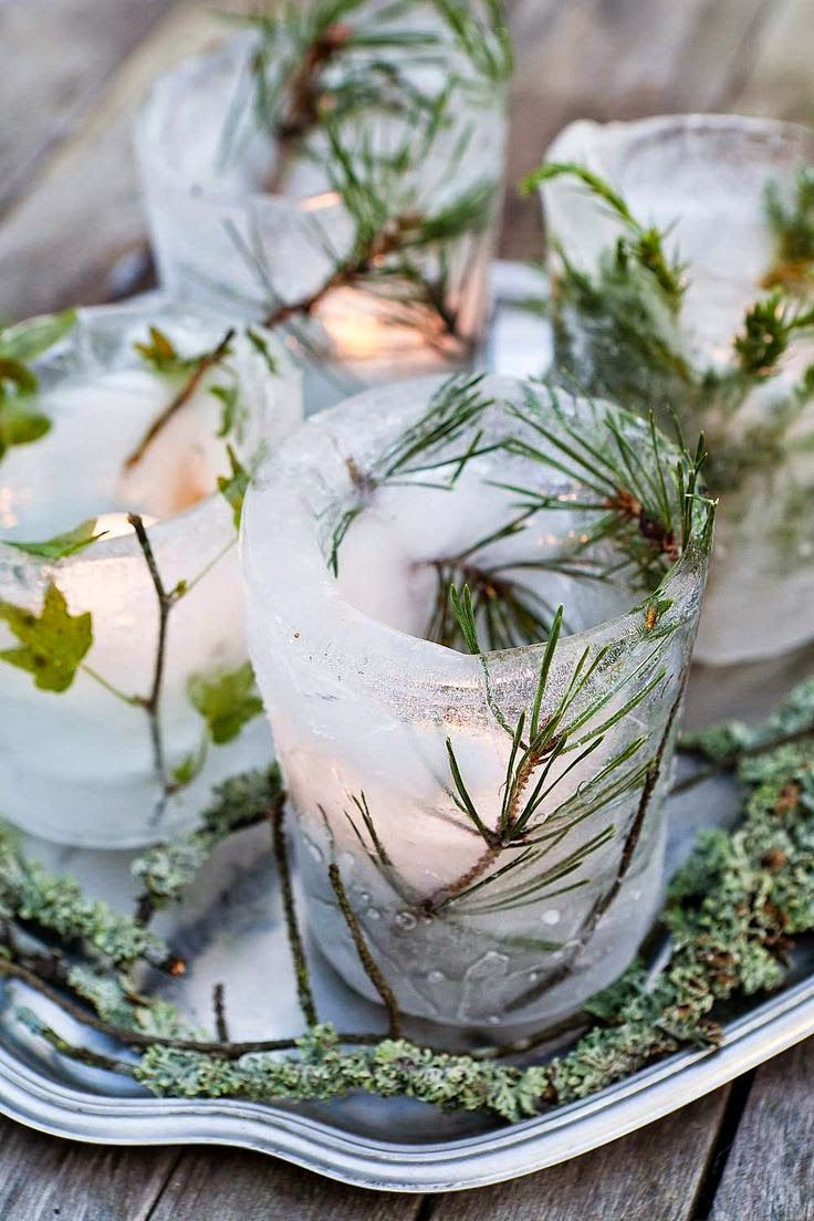 Ice votives for outdoor parties