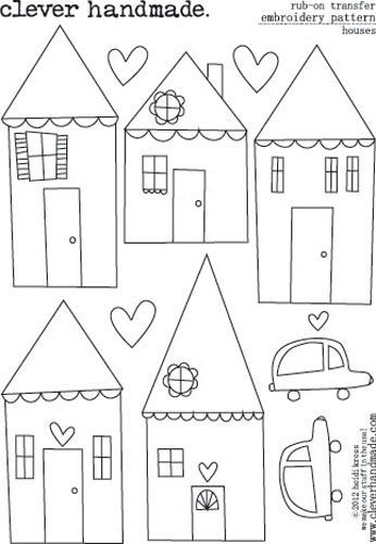 Embroidery Patterns - Rub Ons - Houses by Clever Handmade - click to enlarge: