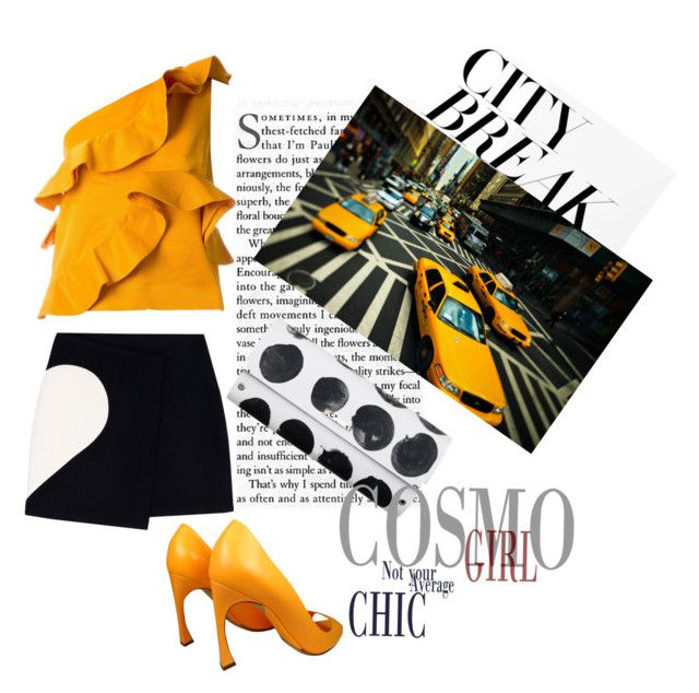 """Yellow taxi"" by tiraboschi-b ❤ liked on Polyvore featuring MSGM, Christian Dior, Spanaki and TAXI"