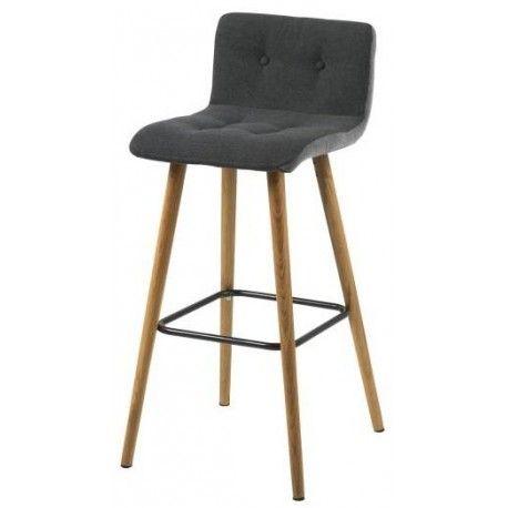 Frida gestoffeerde barkruk met rugleuning depot design - Chaise haute 65 cm ...