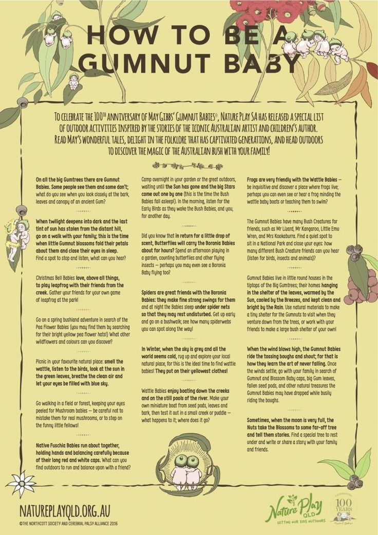 How to be a Gumnut Baby Playlist - in celebration of May Gibbs' 100th anniversary of Snugglepot and Cuddlepie   Download and print this playlist in A4 or A3  #maygibbs #snugglepot #cuddlepie #gumnut #baby #playlist #natureplayqld