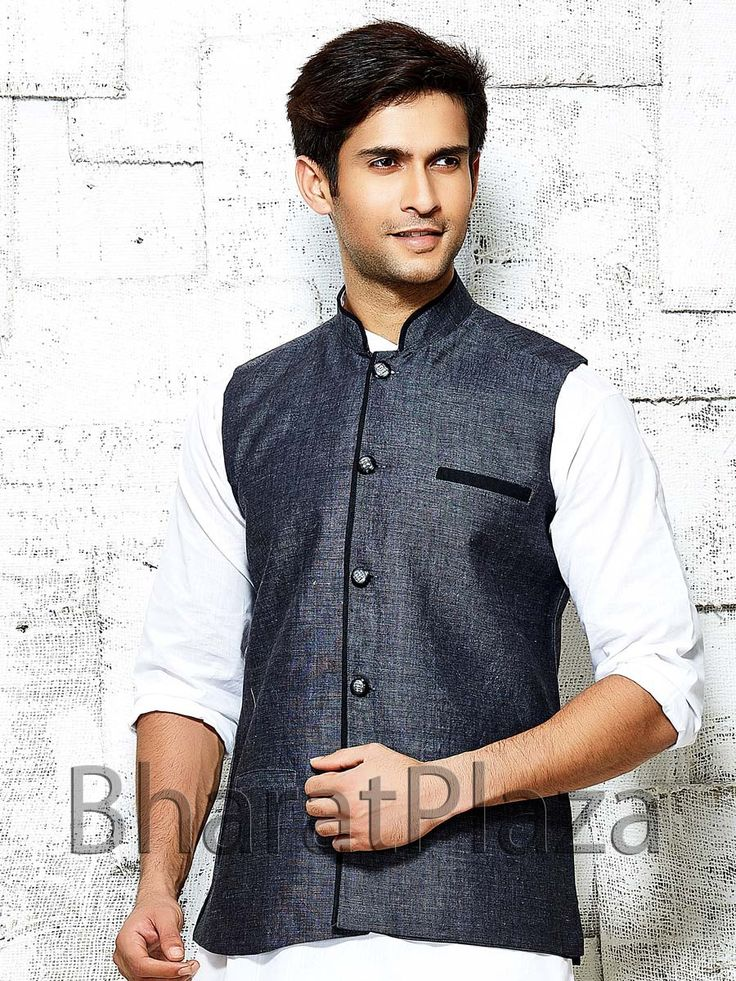 Prodigious grey color nehru jacket is fabricated on linen with contrast piping on high neck collar. Item Code: NJI001BL