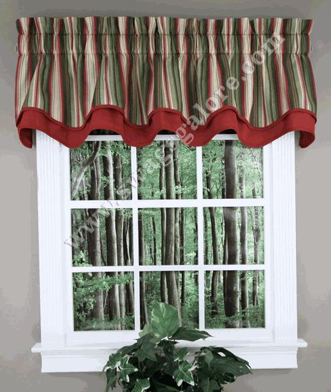 Montego Stripe Layered Valance - Green - Ellis - Kitchen Valances