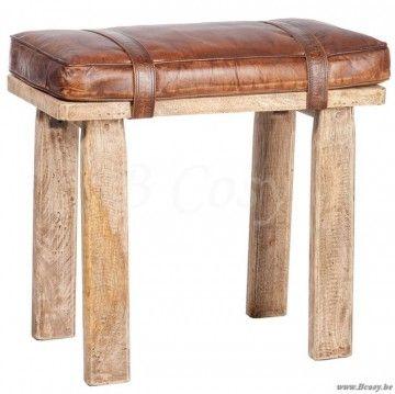 "J-Line Bruin lederen Poef-kruk leonard in bruin leder 55 <span style=""font-size: 0.01pt;"">Jline-by-Jolipa-53207-antieke-stijl-meubels-online-winkels-online</span>"