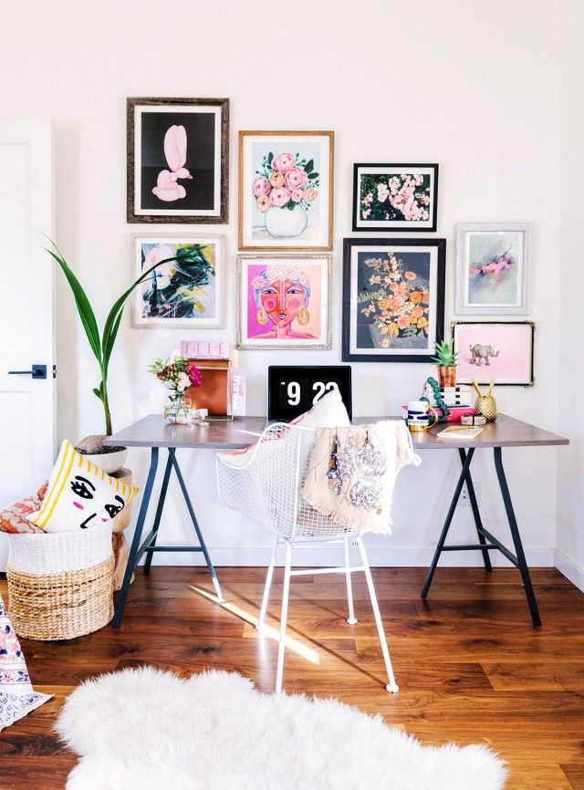 Modern Feminine Home Office Design Featuring A Gallery Wall Of Pink, Gray,  Black And