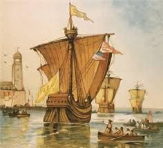 """On August 3, 1492, Columbus sailed west with three small ships, the Pinta, the Nina, and the Santa Maria. although the expedition encountered good whether and favorable wind, no land came into sight. Finally, on October 12,  lookout yelled, """"Land! Land"""""""