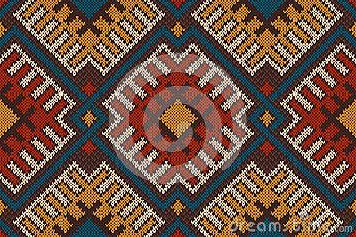 Племенной ацтеков бесшовные узор на шерстяной вязаный текстуры