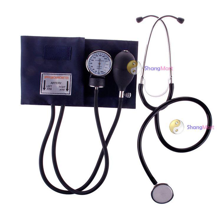 Shangmart de marca de sangue estetoscópio medidor início aneróide esfigmomanômetro Monitor de manguito definir mais barato alishoppbrasil