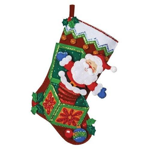 2012 popup santa bucilla stocking