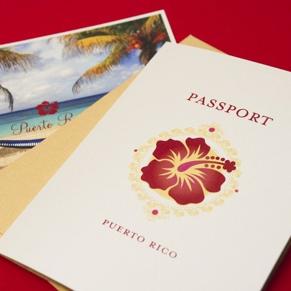 invitation inspiration - Sunset Hibiscus Passport Destination Wedding Invitation (Puerto Rico) - Design Fee