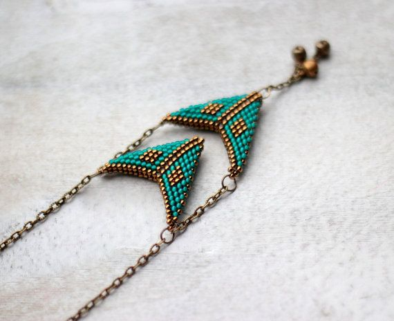 Boho necklace, indie necklace, tribal, gypsy, hippie, oriental, bohemian jewelry  Bohemian style, chevron necklace made with antique gold and teal