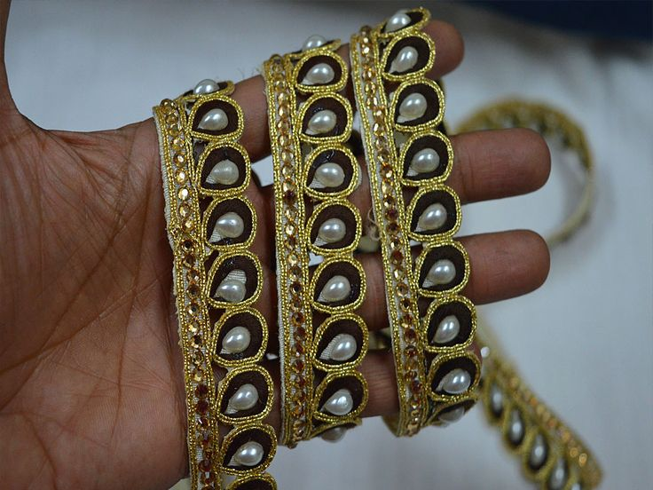 Brown Indian Laces Saree Border Gold Kundan Lace Stone Work    You can purchase from below link or What's App no. is +91-9999684477. We also take wholesale inquiries.