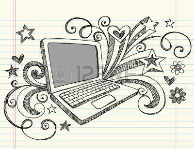 Business Laptop Computer schetsmatig notebook doodles is hand Drawn Swirls harten en sterren-illustratie ontwerp elementen op U:lined Sketchbook Paper achtergrond  Stockfoto