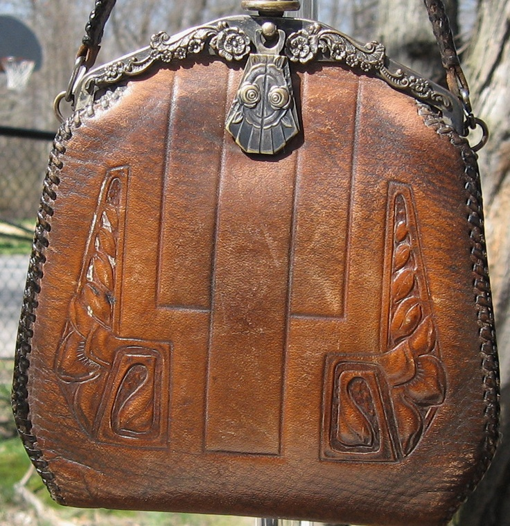 1910 Antique Arts & Crafts Era Hand Tooled Leather Purse