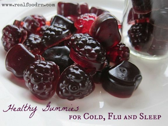 Col Flu and Sleep Gummies  1 1/4 cup tart cherry juice (where to find) 4 Tbsp unflavored gelatin (where to find) 1/4 cup Elderberry syrup (get the recipe here) 2 Tbsp raw honey (where to find)