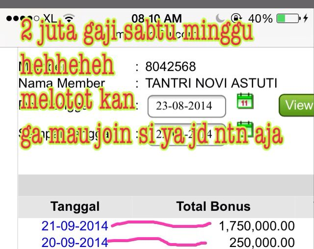 "mau gaji nambah  kayka gni  kerja gampang banget loh  cuma pencet"" dpt sms cinta dr moment weekend pun d gaji  yuk follow aku Viviamoment infinty to fast respond: Line: fbeequeen  fb: Viviamoment glucogen via pin :7403DF0A Whats up ; 085946170356 sms:0812 89352218"