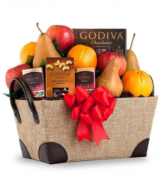 Chocolate and Fruit Delight  For those you'd love to indulge, this satisfying gift combines the natural sweetness of fresh fruit with the delicious richness of premium chocolates.    The recipient will be treated to ripe Bosc Pears, Fuji Apples, and California Navel Oranges along with Godiva Milk Chocolate Gems, Chocolate Covered Cashews, and 85% Dark Chocolate.    Simply divine.  $69.95