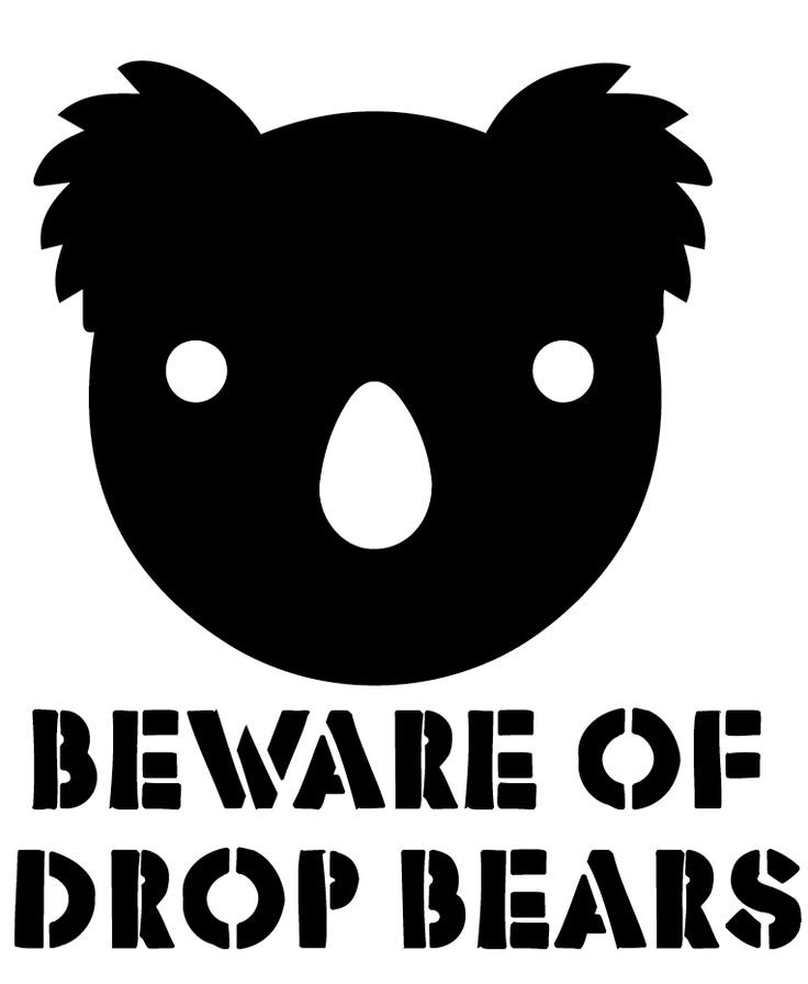 Beware of Drop Bears stencil template