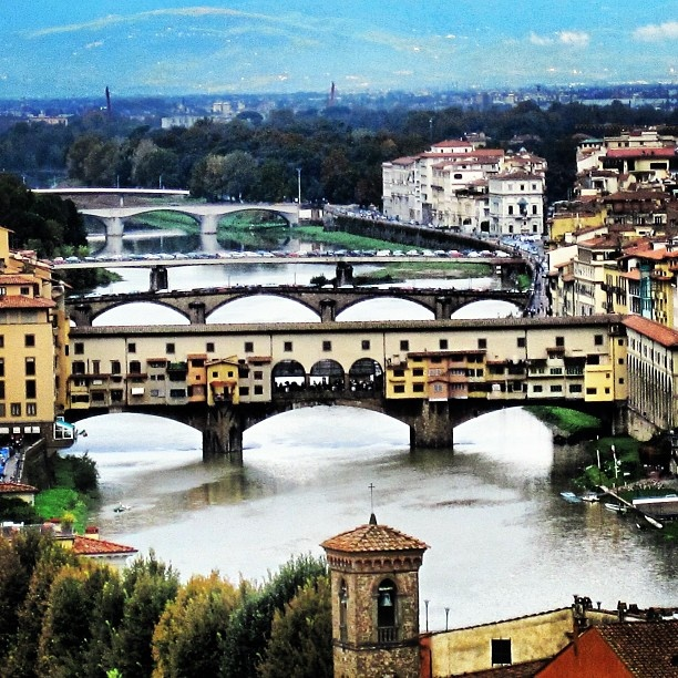 Ponte Vecchio, and other bridges over the Arno River of Florence, Italy
