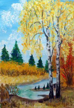 Рисование. Осенний пейзаж с применением печати газетной бумагой пошагово с фото