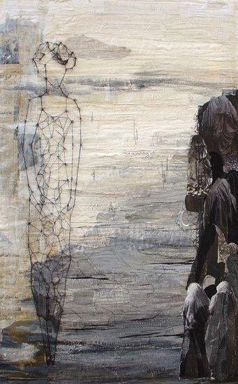 Willy Schut - textiel schilderij 'tegenstelling'
