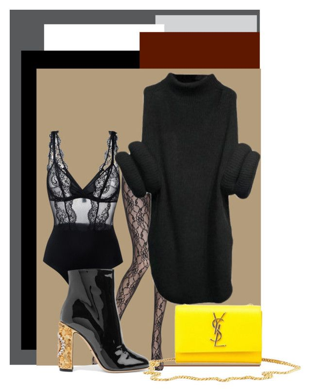 """""""Styling for loose fall sweater"""" by roxana97 on Polyvore featuring La Perla, Yves Saint Laurent and Dolce&Gabbana"""