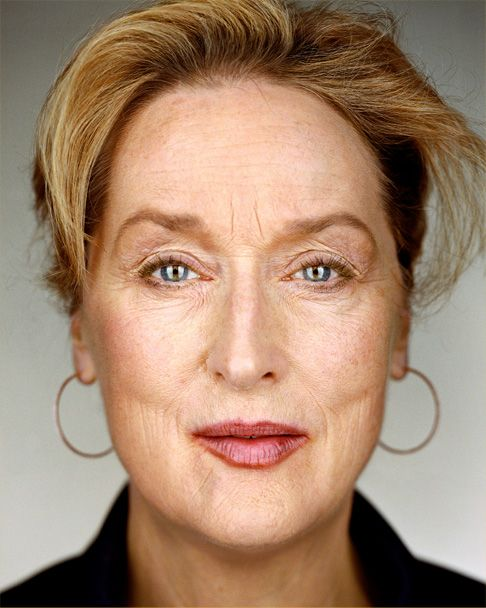 Meryl, letting it all hang. Of course she has killer hair, but you gotta love those Oscar winning frown lines. She earned them and even got paid for them.