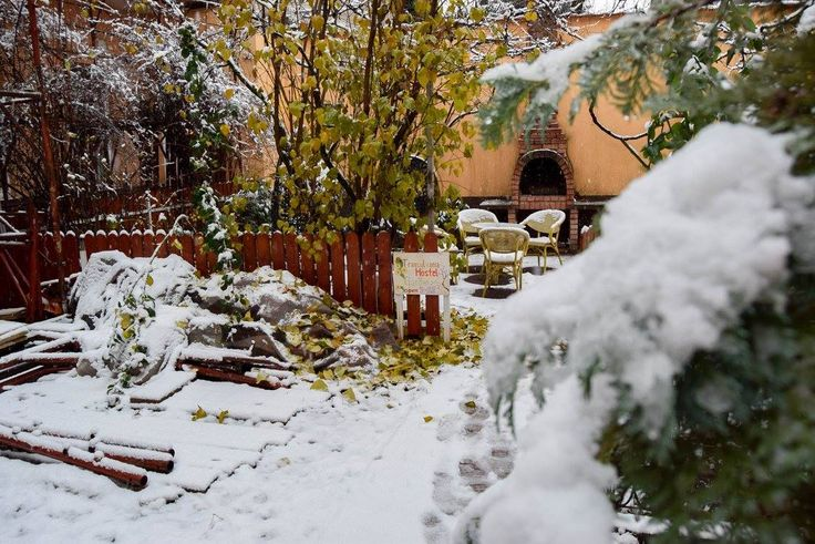 Transylvania Hostel Garden after the first snow in 2015.