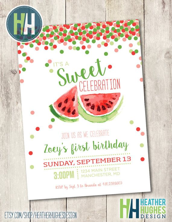 girl first birthday watermelon invite, red watermelon birthday printable invitation, confetti summer birthday party customize personalize by HeatherHughesDesign