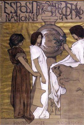By Duilio Cambellotti (Roma, 1876-1960), 1897, Esposizione Nazionale di Torino, bozzetto espositivo. (I)
