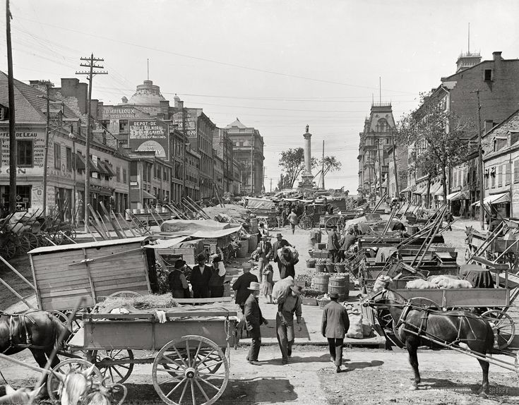 "Quebec circa 1900. ""Jacques Cartier Square, Montreal."" One of relatively few Canadian scenes"
