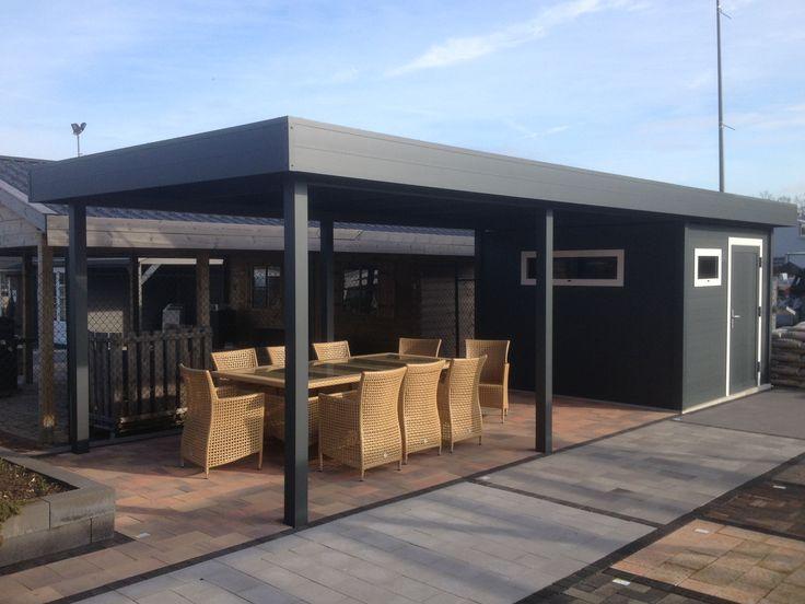 Aluminium terrasoverkapping veranda overkapping met schuur strak stijlvol n - Modern prieel aluminium ...