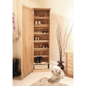 Mobel Oak Solid Tall Shoe Cupboard