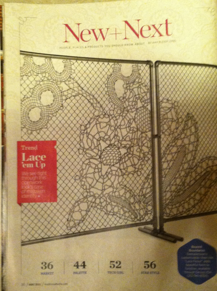 "Beyond Boundaries Demakersvan's customizable chain-link ""Lace Fence"" adds beautiful form to function, available through Droog USA 212 – 941 – 8350 May 2011 Traditional Home magazine"