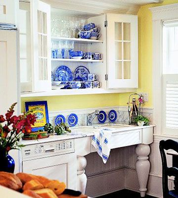 Plate display ideas - Yellow and blue kitchen ideas ...