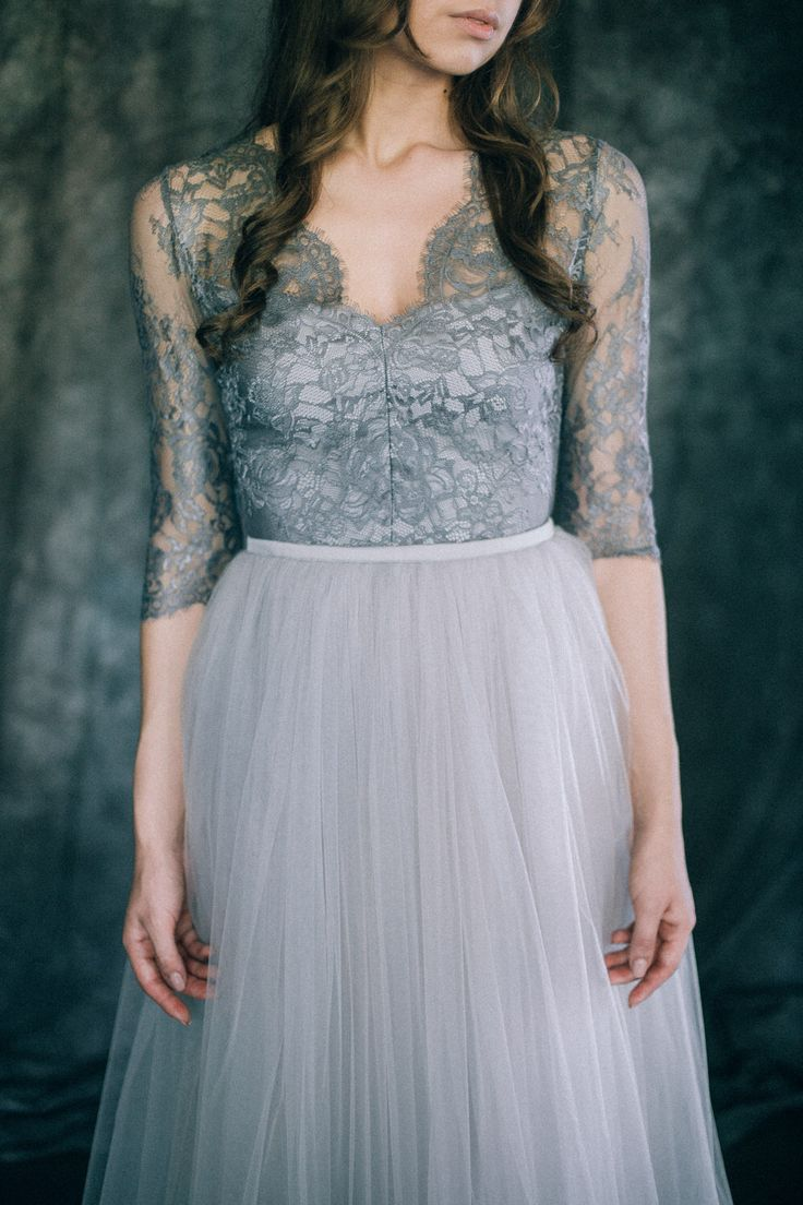 """Wedding dress """"Space"""" Light silver gray colored bridal"""