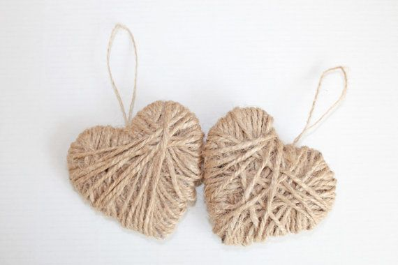 These Burlap Christmas Decorations can be used as tree ornaments, a part of a garland or home decor. Hearts dimensions:  2 x 3 inches    Various sets