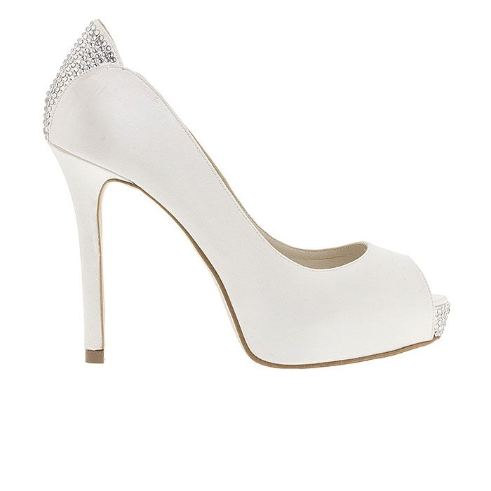 110308-WHITE SATINwww.mourtzi.com #peeptoes #heels #mourtzi #bridal #weddingshoes #bride